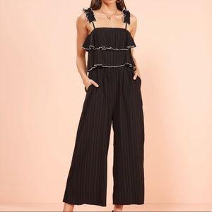 MinkPink Cillection Contrast Stitch Black Jumpsuit